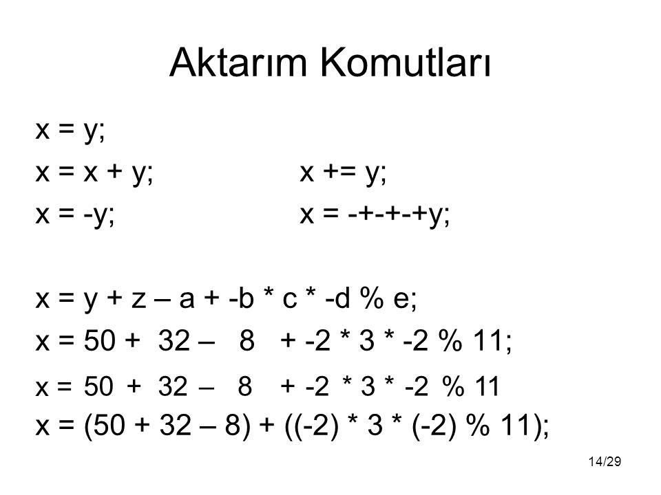 14/29 Aktarım Komutları x = y; x = x + y;x += y; x = -y;x = -+-+-+y; x = y + z – a + -b * c * -d % e; x = 50 + 32 – 8 + -2 * 3 * -2 % 11; x = (50 + 32 – 8) + ((-2) * 3 * (-2) % 11); -2 * 3*% 1150 + 32 – 8+ x =