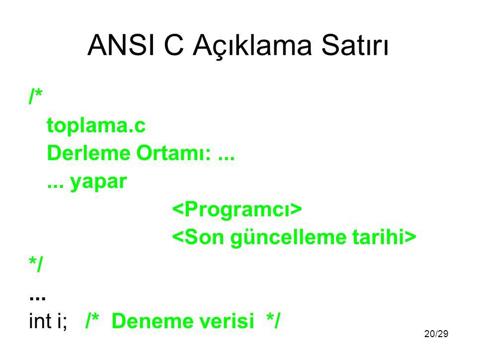 20/29 ANSI C Açıklama Satırı /* toplama.c Derleme Ortamı:......