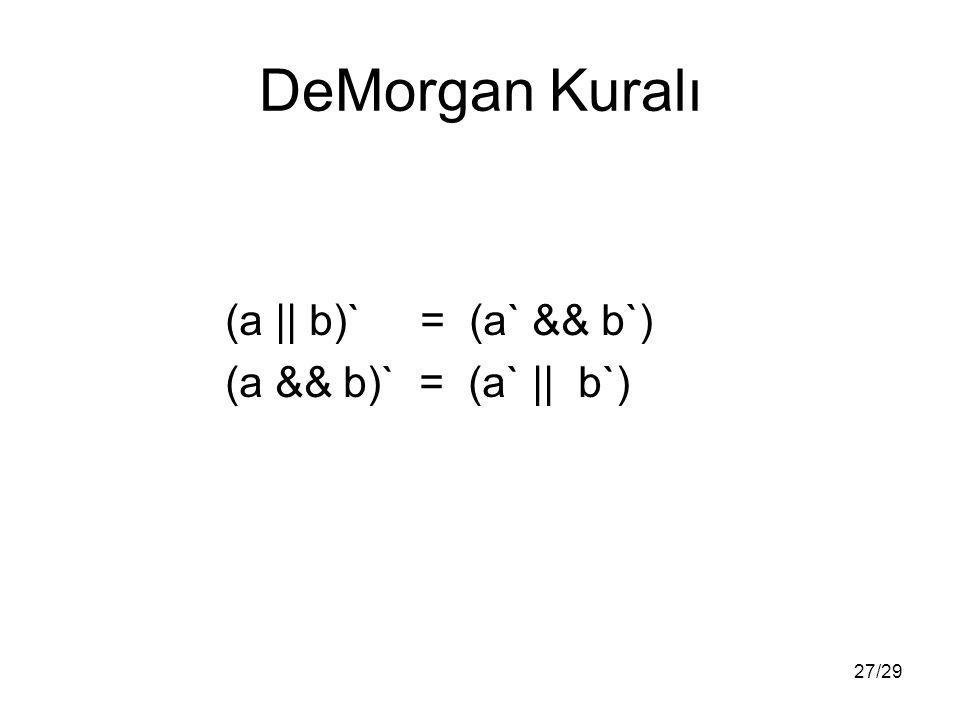 27/29 DeMorgan Kuralı (a || b)` = (a` && b`) (a && b)` = (a` || b`)