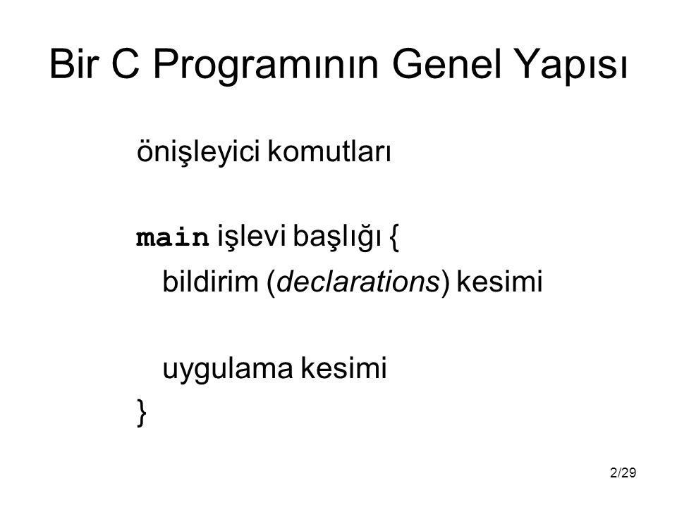 2/29 Bir C Programının Genel Yapısı önişleyici komutları main işlevi başlığı { bildirim (declarations) kesimi uygulama kesimi }