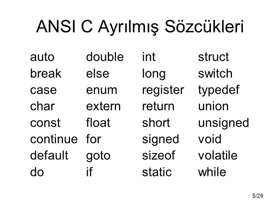 5/29 ANSI C Ayrılmış Sözcükleri autodoubleintstruct breakelselongswitch caseenumregistertypedef charexternreturnunion constfloatshortunsigned continue
