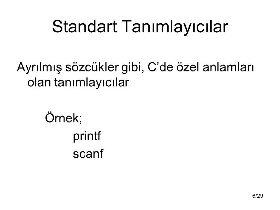 6/29 Standart Tanımlayıcılar Ayrılmış sözcükler gibi, C'de özel anlamları olan tanımlayıcılar Örnek; printf scanf