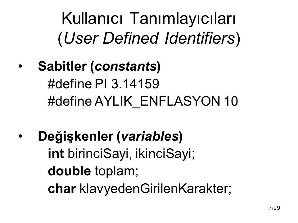 7/29 Kullanıcı Tanımlayıcıları (User Defined Identifiers) Sabitler (constants) #define PI 3.14159 #define AYLIK_ENFLASYON 10 Değişkenler (variables) int birinciSayi, ikinciSayi; double toplam; char klavyedenGirilenKarakter;