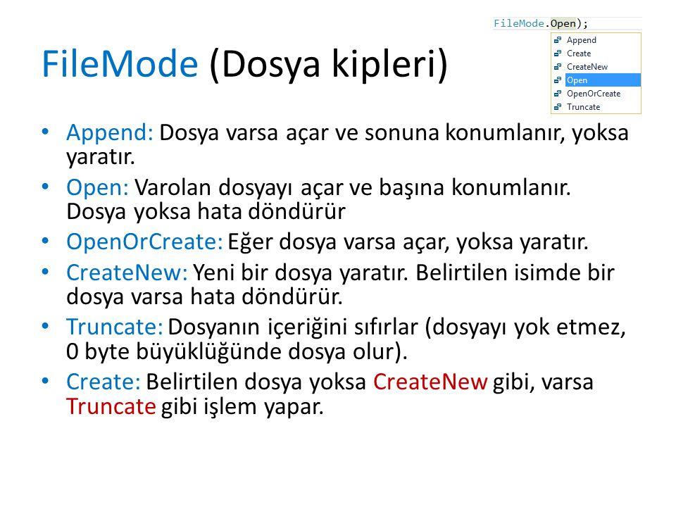 FileMode (Dosya kipleri) Append: Dosya varsa açar ve sonuna konumlanır, yoksa yaratır.