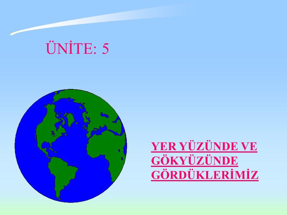 YER YÜZÜNDE VE GÖKYÜZÜNDE GÖRDÜKLERİMİZ ÜNİTE: 5