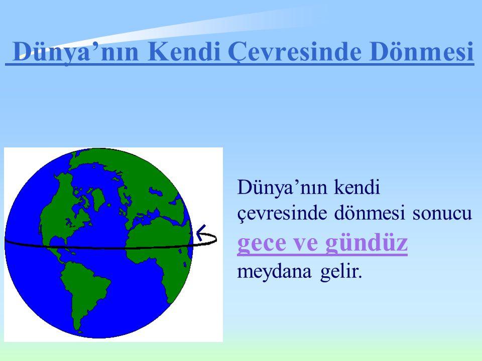 Dünya'nın Kendi Çevresinde Dönmesi Dünya'nın kendi çevresinde dönmesi sonucu gece ve gündüz meydana gelir.