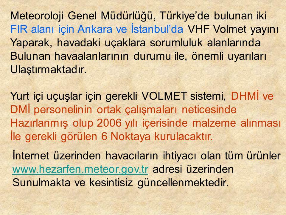 Meteoroloji Genel Müdürlüğü, Türkiye'de bulunan iki FIR alanı için Ankara ve İstanbul'da VHF Volmet yayını Yaparak, havadaki uçaklara sorumluluk alanl
