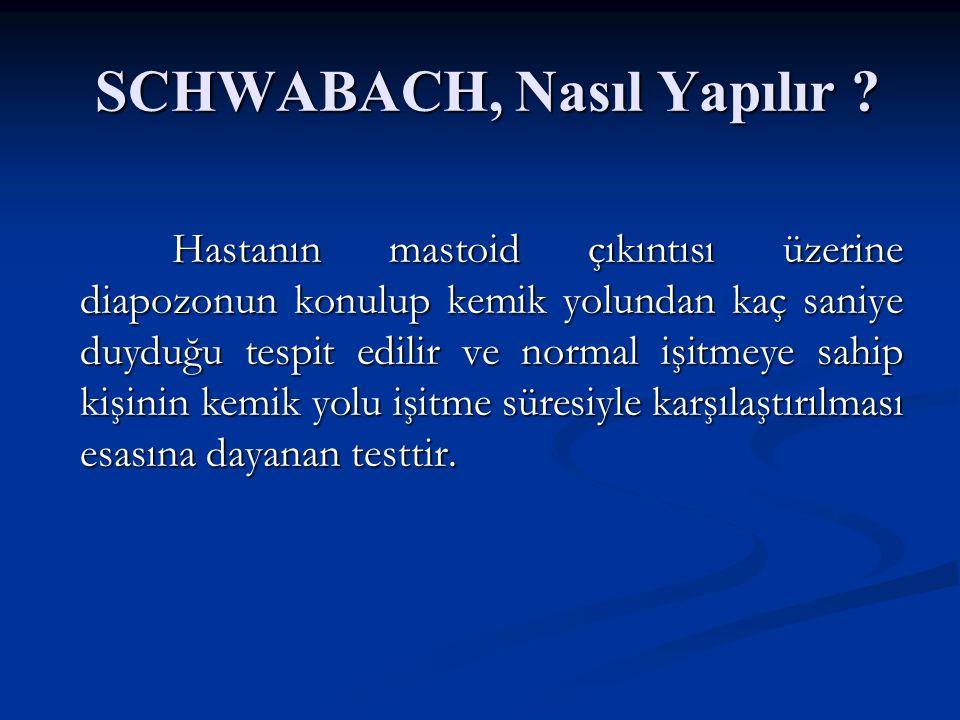 Diapozon Testleri Schwabach Testi : Schwabach Testi : Kemik yolu iletiminin normale göre azalıp azalmadığını incelemeye dayalı bir testtir. Kemik yolu