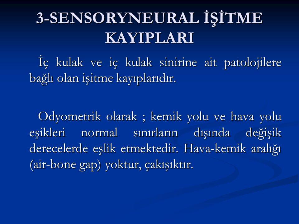 3-SENSORYNEURAL İŞİTME KAYIPLARI İç kulak ve iç kulak sinirine ait patolojilere bağlı olan işitme kayıplarıdır.