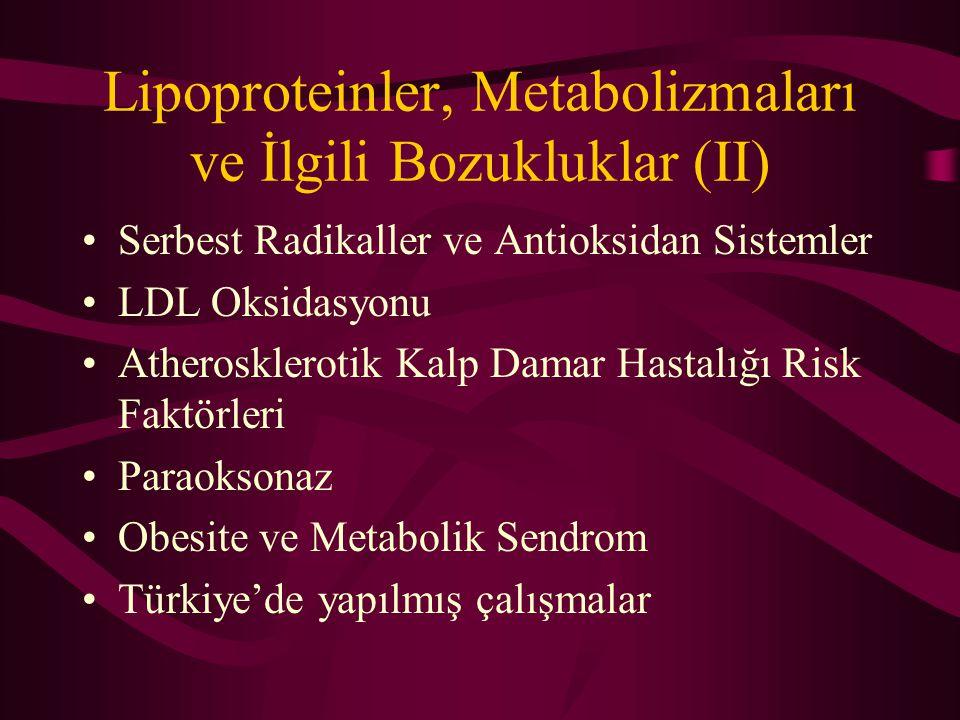 Lipoproteinler, Metabolizmaları ve İlgili Bozukluklar (II) Serbest Radikaller ve Antioksidan Sistemler LDL Oksidasyonu Atherosklerotik Kalp Damar Hast