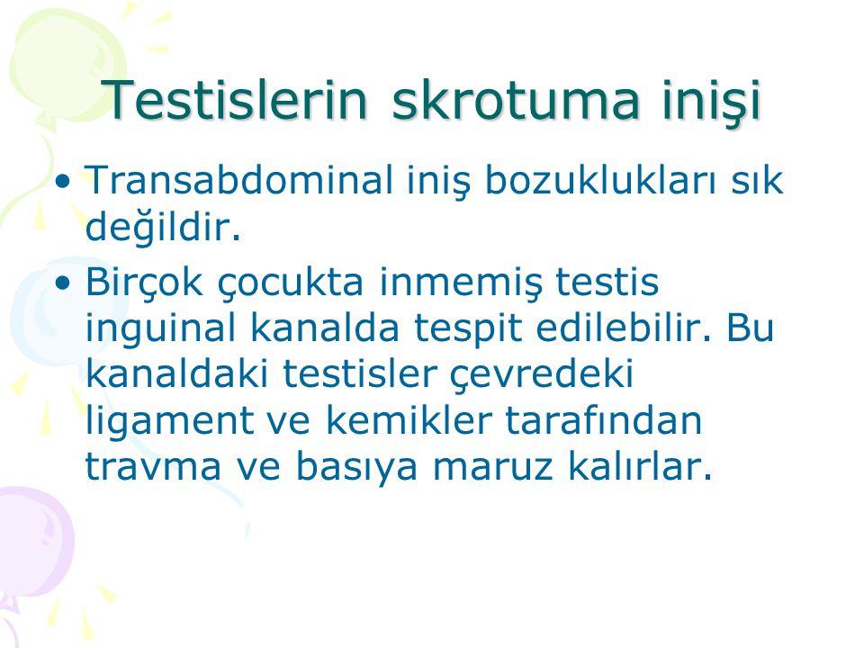 Testislerin skrotuma inişi Transabdominal iniş bozuklukları sık değildir. Birçok çocukta inmemiş testis inguinal kanalda tespit edilebilir. Bu kanalda