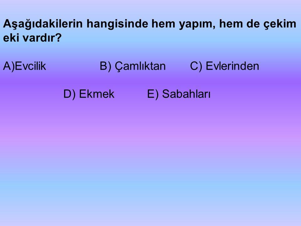 Aşağıdakilerin hangisinde hem yapım, hem de çekim eki vardır? A)Evcilik B) Çamlıktan C) Evlerinden D) Ekmek E) Sabahları