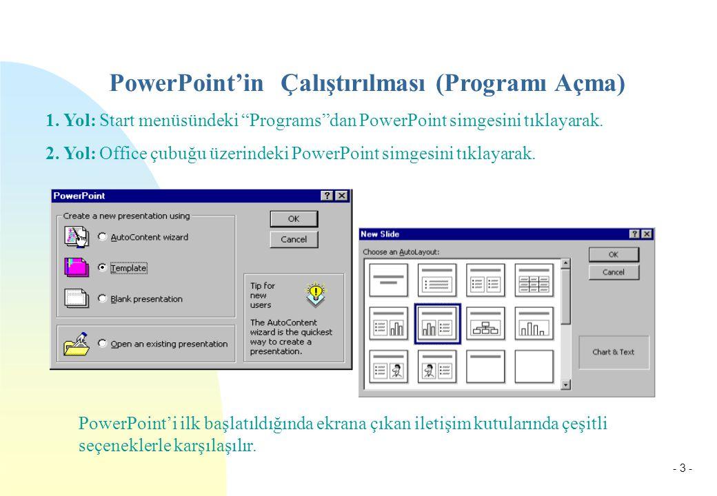 """- 3 - PowerPoint'in Çalıştırılması (Programı Açma) 1. Yol: Start menüsündeki """"Programs""""dan PowerPoint simgesini tıklayarak. 2. Yol: Office çubuğu üzer"""