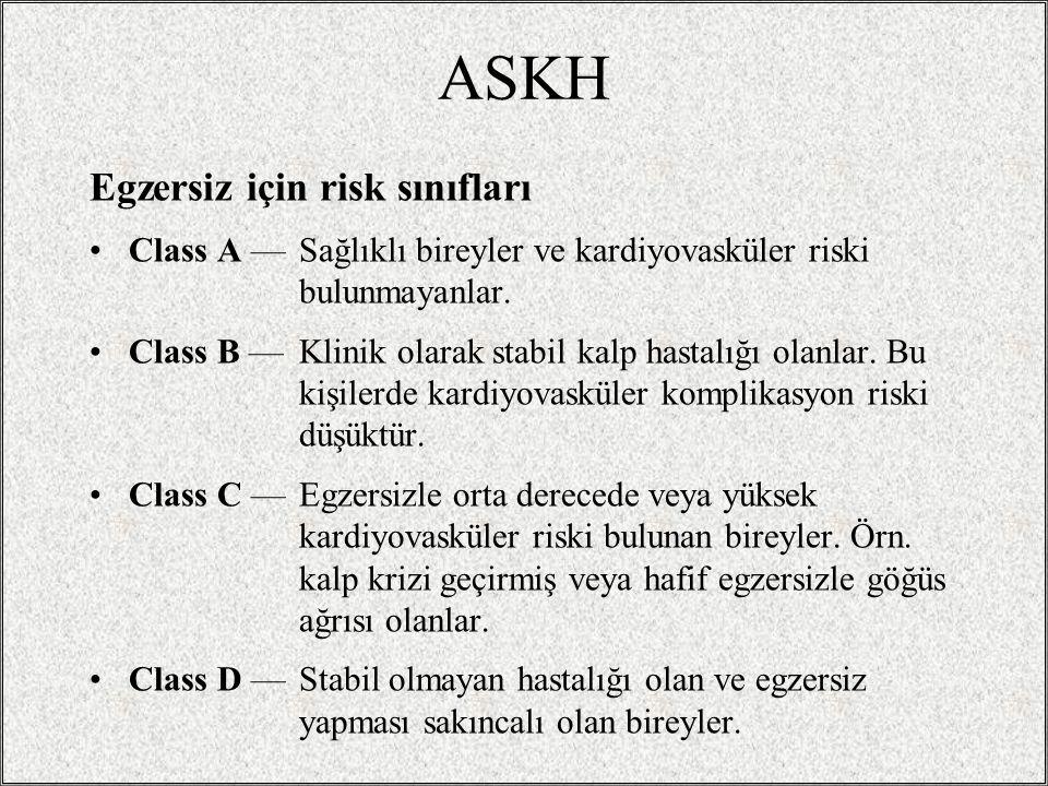 ASKH Egzersiz için risk sınıfları Class A — Sağlıklı bireyler ve kardiyovasküler riski bulunmayanlar. Class B — Klinik olarak stabil kalp hastalığı ol