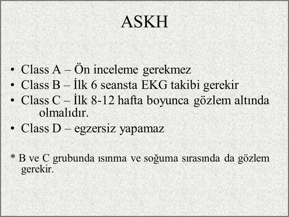 ASKH Class A – Ön inceleme gerekmez Class B – İlk 6 seansta EKG takibi gerekir Class C – İlk 8-12 hafta boyunca gözlem altında olmalıdır. Class D – eg