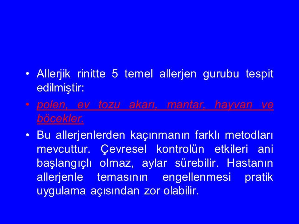 Allerjik rinitte 5 temel allerjen gurubu tespit edilmiştir: polen, ev tozu akarı, mantar, hayvan ve böcekler. Bu allerjenlerden kaçınmanın farklı meto