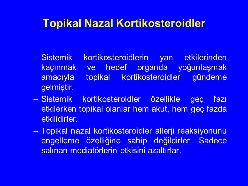 Topikal Nazal Kortikosteroidler –Sistemik kortikosteroidlerin yan etkilerinden kaçınmak ve hedef organda yoğunlaşmak amacıyla topikal kortikosteroidle