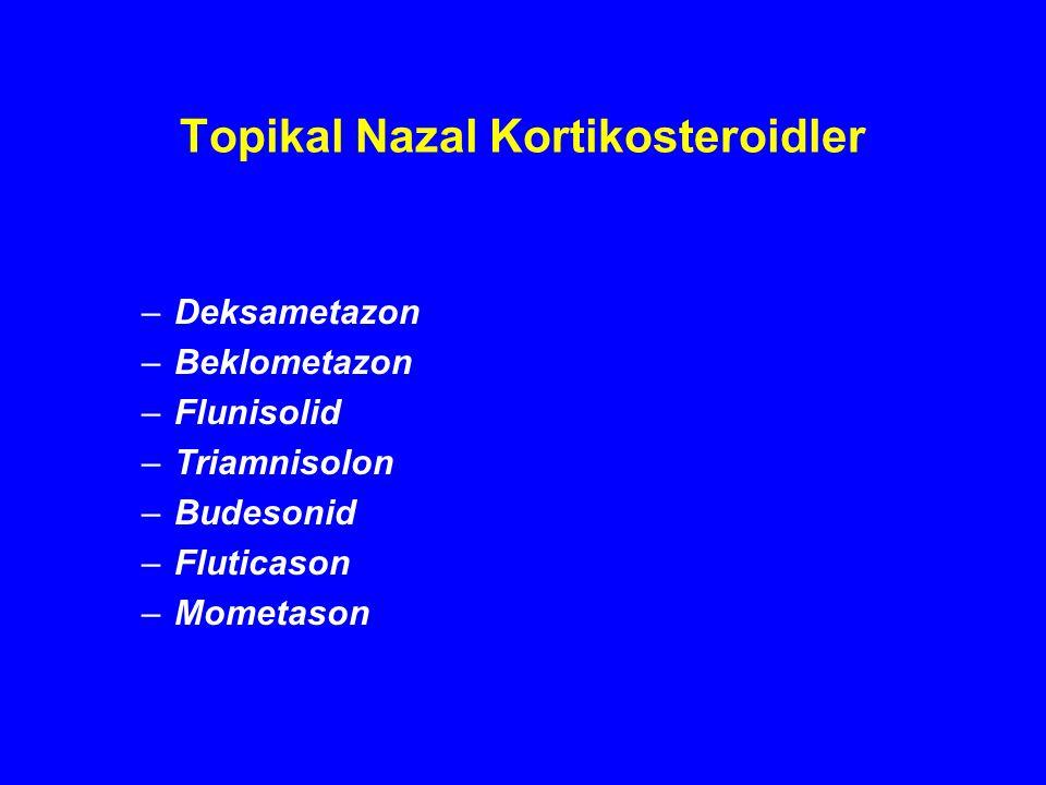 Topikal Nazal Kortikosteroidler –Deksametazon –Beklometazon –Flunisolid –Triamnisolon –Budesonid –Fluticason –Mometason