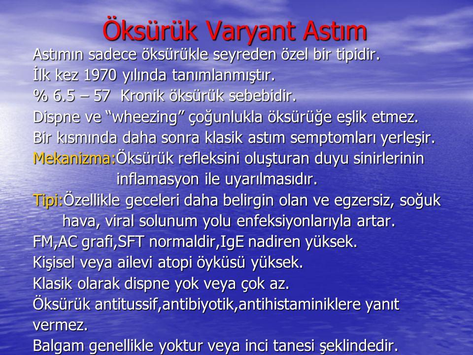 Öksürük Varyant Astım Öksürük Varyant Astım Astımın sadece öksürükle seyreden özel bir tipidir. İlk kez 1970 yılında tanımlanmıştır. % 6.5 – 57 Kronik