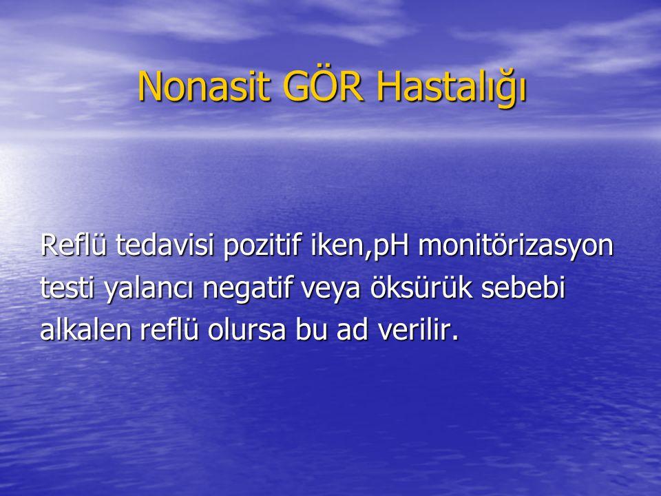 Nonasit GÖR Hastalığı Nonasit GÖR Hastalığı Reflü tedavisi pozitif iken,pH monitörizasyon testi yalancı negatif veya öksürük sebebi alkalen reflü olur