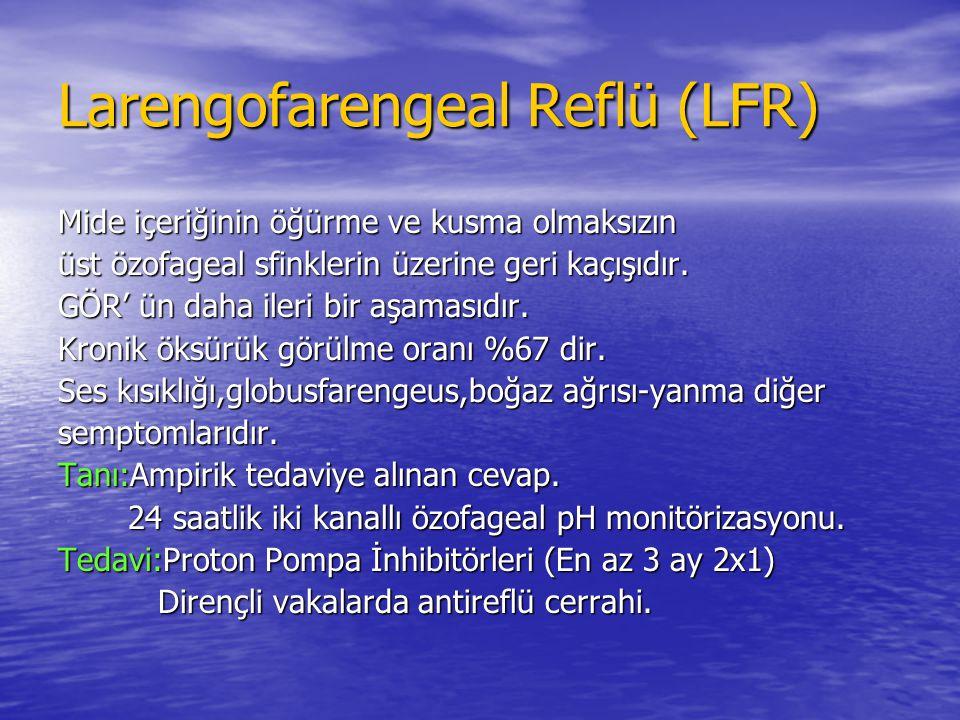 Larengofarengeal Reflü (LFR) Mide içeriğinin öğürme ve kusma olmaksızın üst özofageal sfinklerin üzerine geri kaçışıdır. GÖR' ün daha ileri bir aşamas