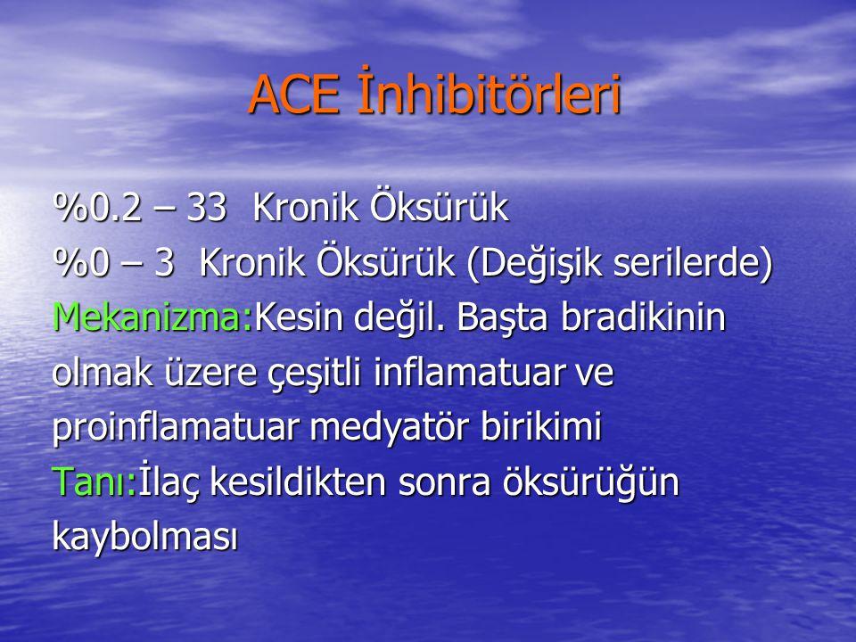 ACE İnhibitörleri ACE İnhibitörleri %0.2 – 33 Kronik Öksürük %0 – 3 Kronik Öksürük (Değişik serilerde) Mekanizma:Kesin değil. Başta bradikinin olmak ü