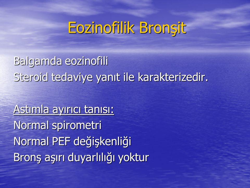Eozinofilik Bronşit Eozinofilik Bronşit Balgamda eozinofili Steroid tedaviye yanıt ile karakterizedir. Astımla ayırıcı tanısı: Normal spirometri Norma