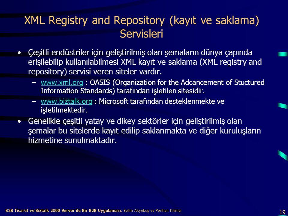 19 B2B Ticaret ve Biztalk 2000 Server ile Bir B2B Uygulaması, Selim Akyokuş ve Perihan Kilimci B2B Ticaret ve Biztalk 2000 Server ile Bir B2B Uygulaması, Selim Akyokuş ve Perihan Kilimci XML Registry and Repository (kayıt ve saklama) Servisleri Çeşitli endüstriler için geliştirilmiş olan şemaların dünya çapında erişilebilip kullanılabilmesi XML kayıt ve saklama (XML registry and repository) servisi veren siteler vardır.