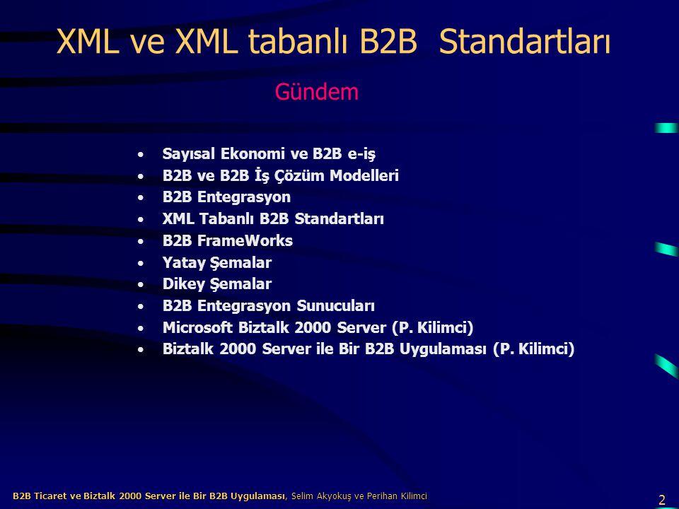 2 B2B Ticaret ve Biztalk 2000 Server ile Bir B2B Uygulaması, Selim Akyokuş ve Perihan Kilimci B2B Ticaret ve Biztalk 2000 Server ile Bir B2B Uygulaması, Selim Akyokuş ve Perihan Kilimci XML ve XML tabanlı B2B Standartları Sayısal Ekonomi ve B2B e-iş B2B ve B2B İş Çözüm Modelleri B2B Entegrasyon XML Tabanlı B2B Standartları B2B FrameWorks Yatay Şemalar Dikey Şemalar B2B Entegrasyon Sunucuları Microsoft Biztalk 2000 Server (P.
