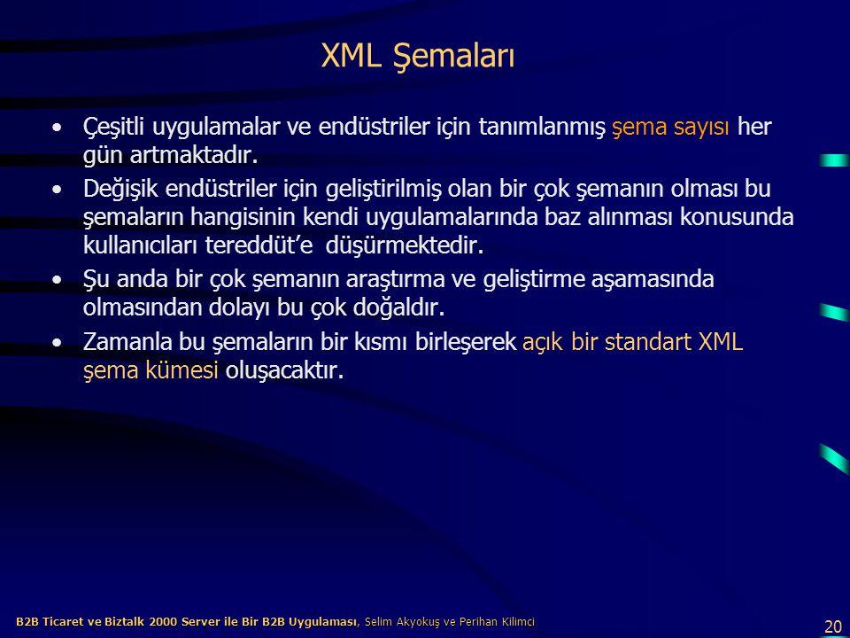 20 B2B Ticaret ve Biztalk 2000 Server ile Bir B2B Uygulaması, Selim Akyokuş ve Perihan Kilimci B2B Ticaret ve Biztalk 2000 Server ile Bir B2B Uygulaması, Selim Akyokuş ve Perihan Kilimci XML Şemaları Çeşitli uygulamalar ve endüstriler için tanımlanmış şema sayısı her gün artmaktadır.