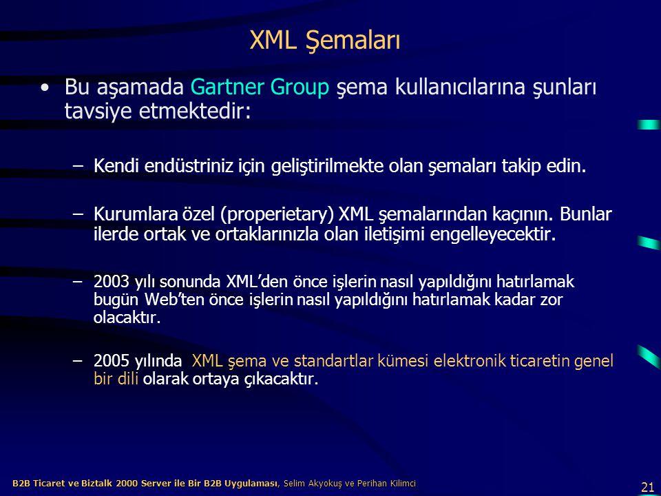 21 B2B Ticaret ve Biztalk 2000 Server ile Bir B2B Uygulaması, Selim Akyokuş ve Perihan Kilimci B2B Ticaret ve Biztalk 2000 Server ile Bir B2B Uygulaması, Selim Akyokuş ve Perihan Kilimci XML Şemaları Bu aşamada Gartner Group şema kullanıcılarına şunları tavsiye etmektedir: –Kendi endüstriniz için geliştirilmekte olan şemaları takip edin.
