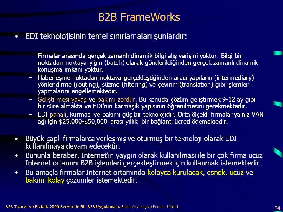24 B2B Ticaret ve Biztalk 2000 Server ile Bir B2B Uygulaması, Selim Akyokuş ve Perihan Kilimci B2B Ticaret ve Biztalk 2000 Server ile Bir B2B Uygulaması, Selim Akyokuş ve Perihan Kilimci B2B FrameWorks EDI teknolojisinin temel sınırlamaları şunlardır: –Firmalar arasında gerçek zamanlı dinamik bilgi alış verişini yoktur.