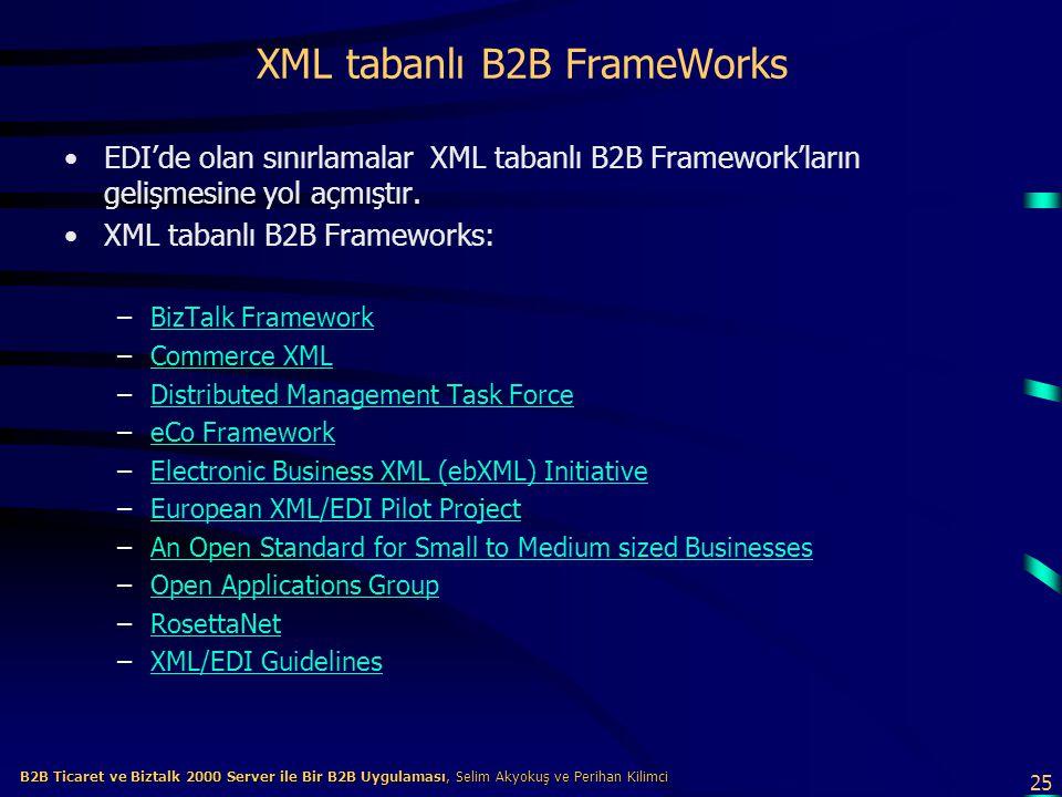 25 B2B Ticaret ve Biztalk 2000 Server ile Bir B2B Uygulaması, Selim Akyokuş ve Perihan Kilimci B2B Ticaret ve Biztalk 2000 Server ile Bir B2B Uygulaması, Selim Akyokuş ve Perihan Kilimci XML tabanlı B2B FrameWorks EDI'de olan sınırlamalar XML tabanlı B2B Framework'ların gelişmesine yol açmıştır.