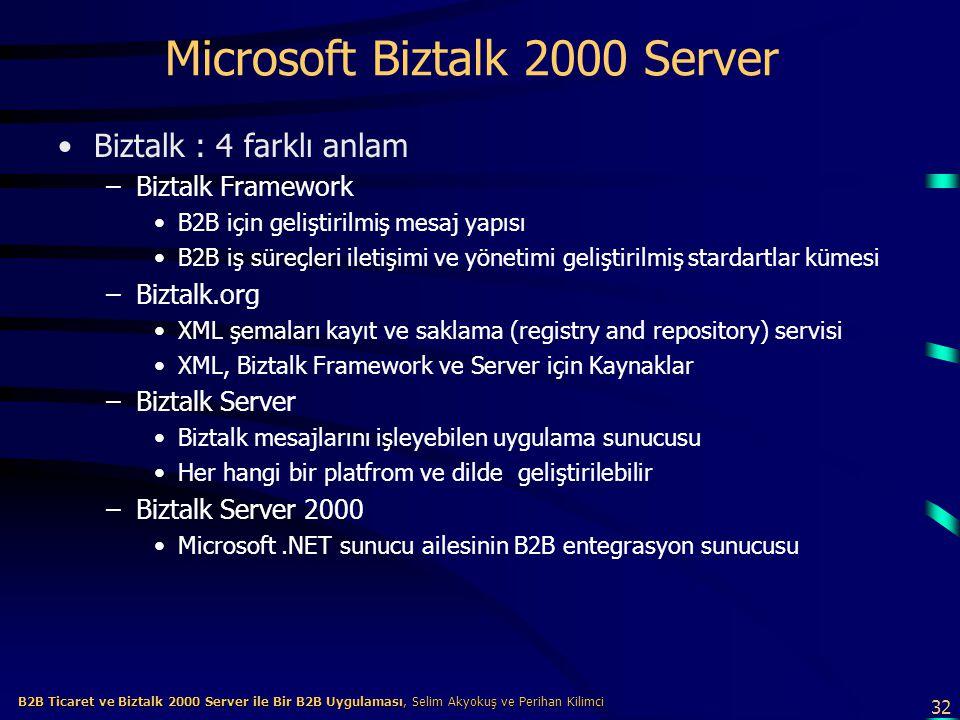 32 B2B Ticaret ve Biztalk 2000 Server ile Bir B2B Uygulaması, Selim Akyokuş ve Perihan Kilimci B2B Ticaret ve Biztalk 2000 Server ile Bir B2B Uygulaması, Selim Akyokuş ve Perihan Kilimci Microsoft Biztalk 2000 Server Biztalk : 4 farklı anlam –Biztalk Framework B2B için geliştirilmiş mesaj yapısı B2B iş süreçleri iletişimi ve yönetimi geliştirilmiş stardartlar kümesi –Biztalk.org XML şemaları kayıt ve saklama (registry and repository) servisi XML, Biztalk Framework ve Server için Kaynaklar –Biztalk Server Biztalk mesajlarını işleyebilen uygulama sunucusu Her hangi bir platfrom ve dilde geliştirilebilir –Biztalk Server 2000 Microsoft.NET sunucu ailesinin B2B entegrasyon sunucusu