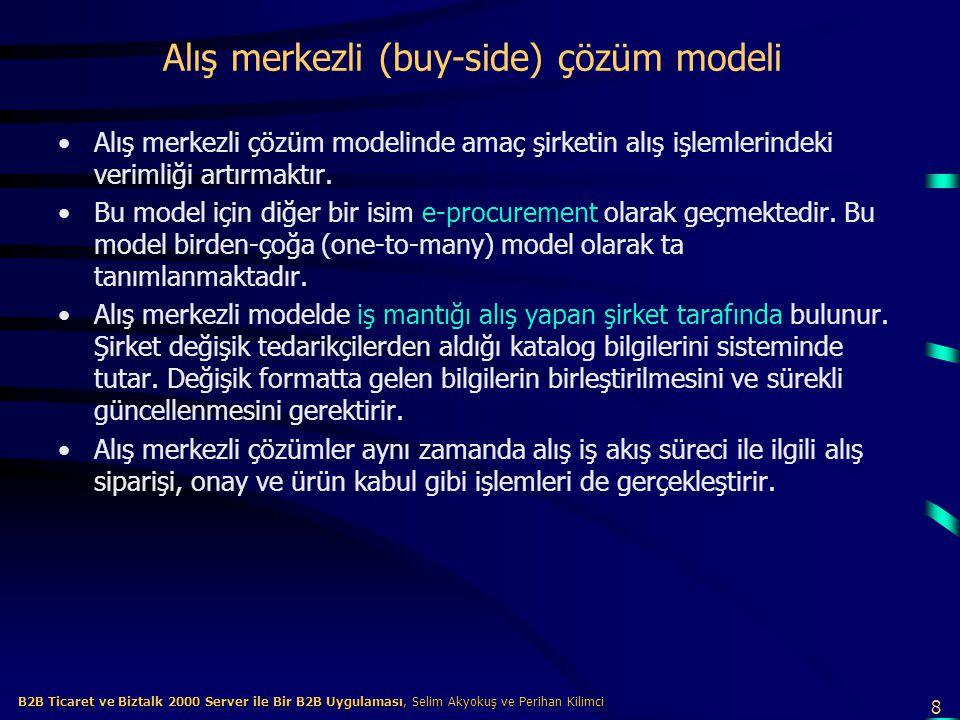 8 B2B Ticaret ve Biztalk 2000 Server ile Bir B2B Uygulaması, Selim Akyokuş ve Perihan Kilimci B2B Ticaret ve Biztalk 2000 Server ile Bir B2B Uygulaması, Selim Akyokuş ve Perihan Kilimci Alış merkezli (buy-side) çözüm modeli Alış merkezli çözüm modelinde amaç şirketin alış işlemlerindeki verimliği artırmaktır.