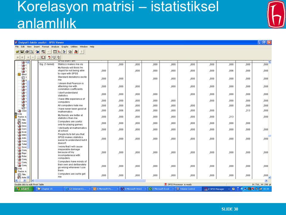 SLIDE 30 Korelasyon matrisi – istatistiksel anlamlılık