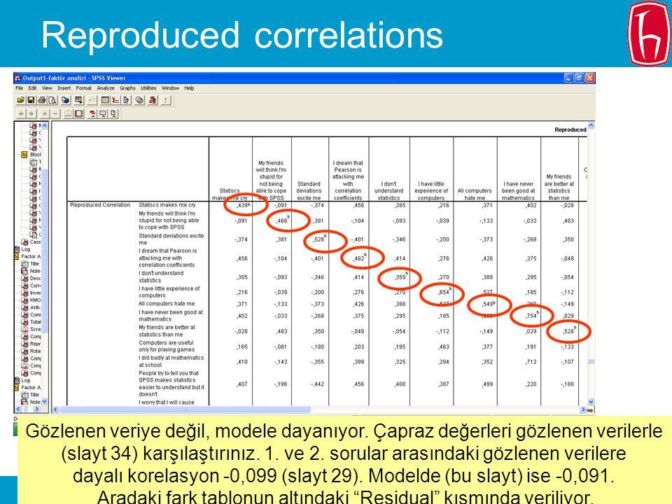 SLIDE 36 Reproduced correlations Gözlenen veriye değil, modele dayanıyor. Çapraz değerleri gözlenen verilerle (slayt 34) karşılaştırınız. 1. ve 2. sor