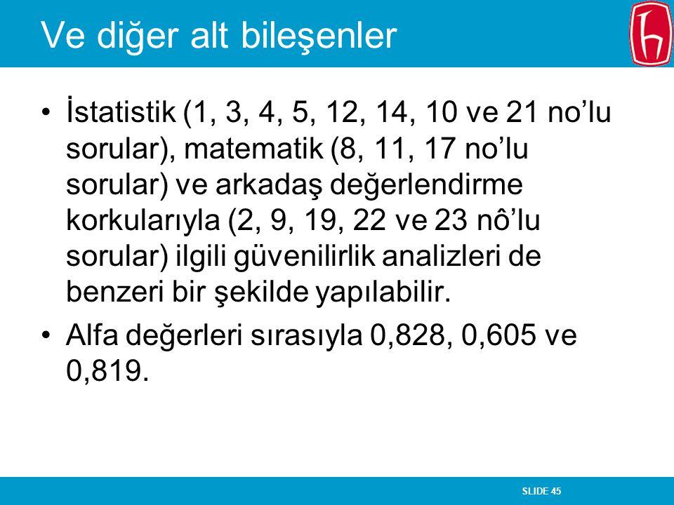 SLIDE 45 Ve diğer alt bileşenler İstatistik (1, 3, 4, 5, 12, 14, 10 ve 21 no'lu sorular), matematik (8, 11, 17 no'lu sorular) ve arkadaş değerlendirme