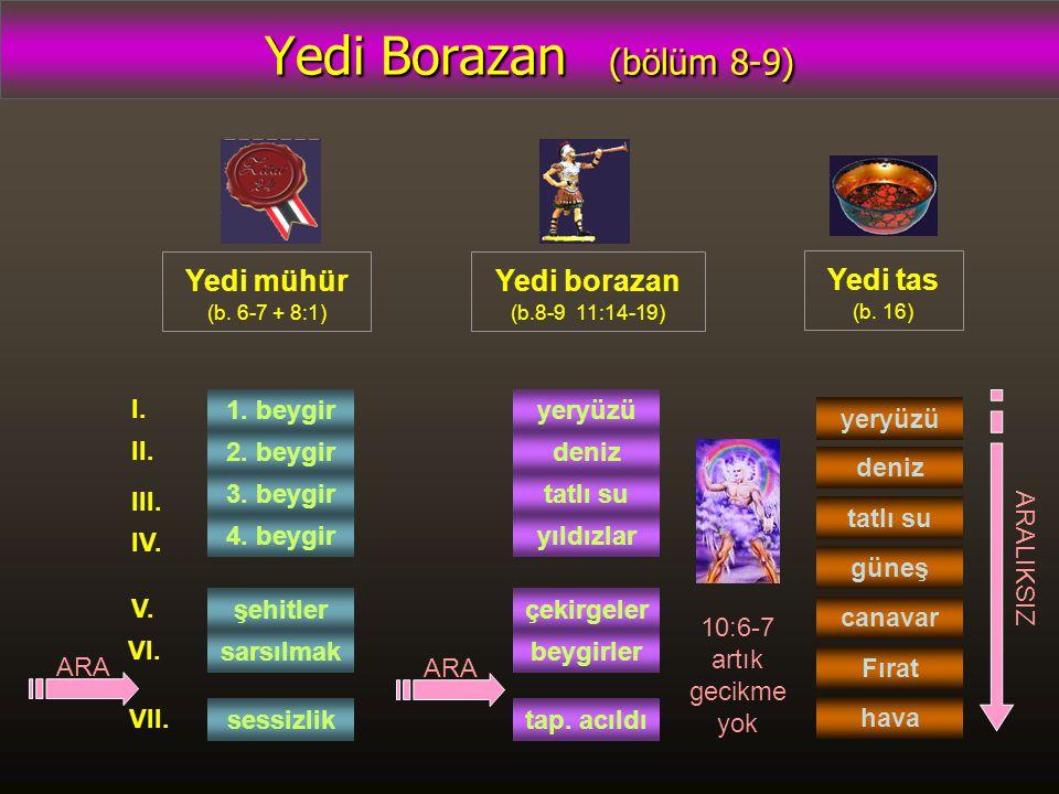 Yedi Borazan (bölüm 8-9) Yedi mühür (b. 6-7 + 8:1) Yedi borazan (b.8-9 11:14-19) Yedi tas (b. 16) 1. beygir 2. beygir 3. beygir 4. beygir şehitler sar