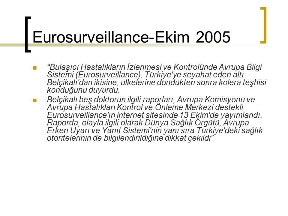 """Eurosurveillance-Ekim 2005 """"Bulaşıcı Hastalıkların İzlenmesi ve Kontrolünde Avrupa Bilgi Sistemi (Eurosurveillance), Türkiye'ye seyahat eden altı Belç"""
