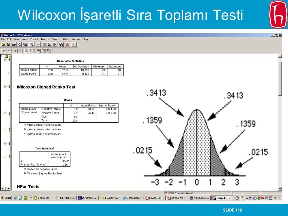 SLIDE 112 Wilcoxon İşaretli Sıra Toplamı Testi