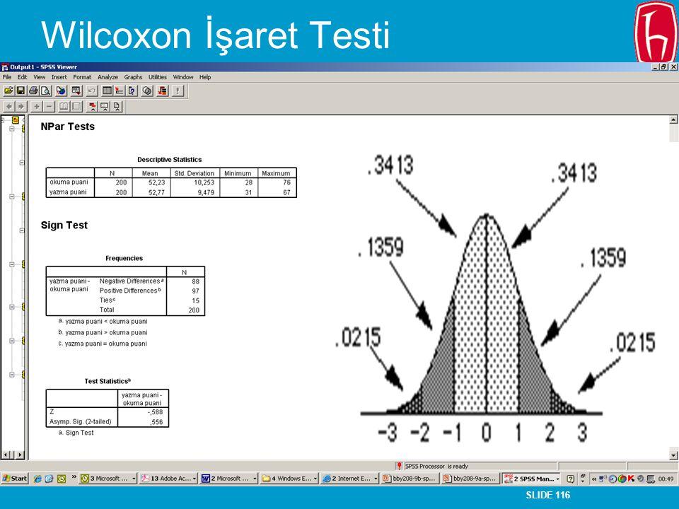 SLIDE 116 Wilcoxon İşaret Testi