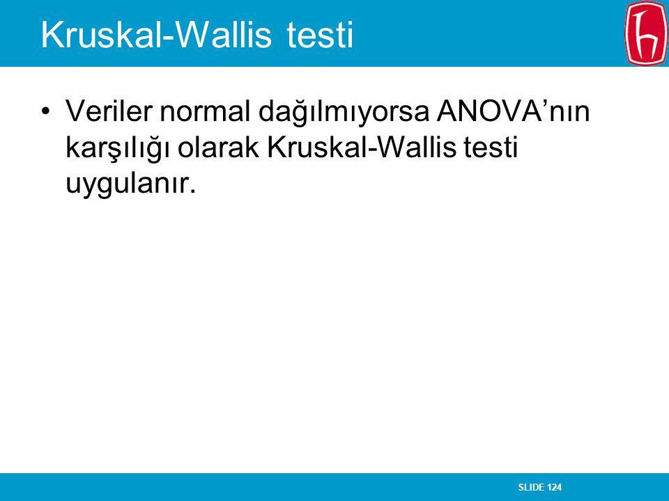 SLIDE 124 Kruskal-Wallis testi Veriler normal dağılmıyorsa ANOVA'nın karşılığı olarak Kruskal-Wallis testi uygulanır.