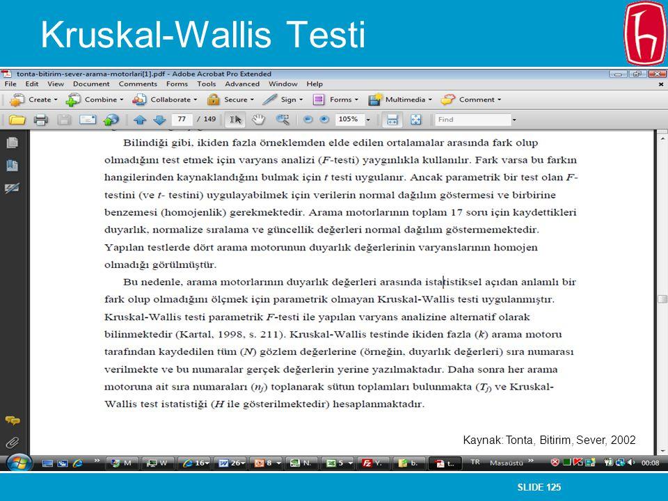 SLIDE 125 Kruskal-Wallis Testi Kaynak: Tonta, Bitirim, Sever, 2002