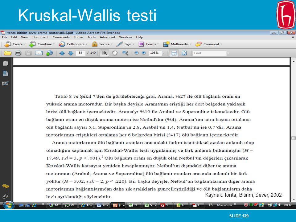 SLIDE 129 Kruskal-Wallis testi Kaynak: Tonta, Bitirim, Sever, 2002