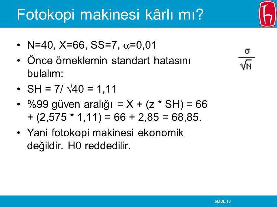 SLIDE 18 Fotokopi makinesi kârlı mı? N=40, X=66, SS=7,  =0,01 Önce örneklemin standart hatasını bulalım: SH = 7/  40 = 1,11 %99 güven aralığı = X +