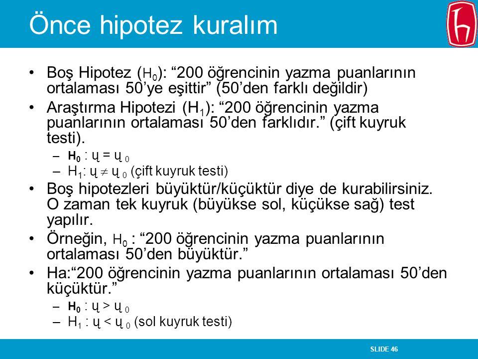"""SLIDE 46 Önce hipotez kuralım Boş Hipotez ( H 0 ): """"200 öğrencinin yazma puanlarının ortalaması 50'ye eşittir"""" (50'den farklı değildir) Araştırma Hipo"""