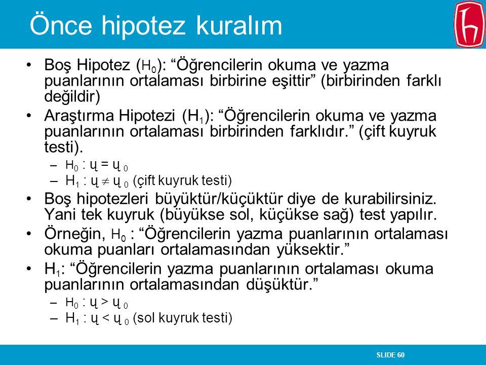 """SLIDE 60 Önce hipotez kuralım Boş Hipotez ( H 0 ): """"Öğrencilerin okuma ve yazma puanlarının ortalaması birbirine eşittir"""" (birbirinden farklı değildir"""