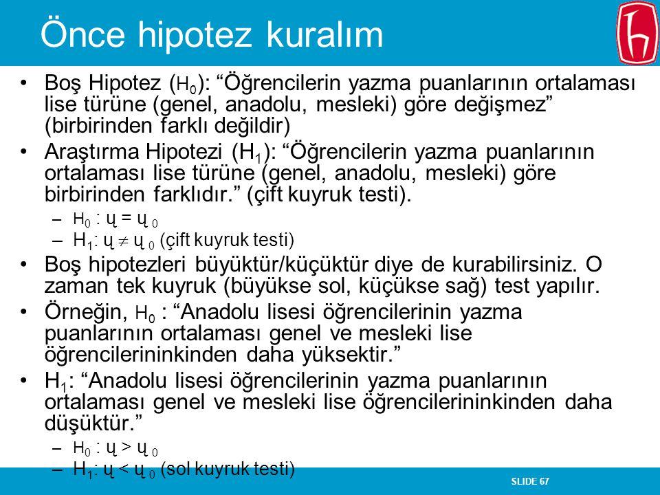 """SLIDE 67 Önce hipotez kuralım Boş Hipotez ( H 0 ): """"Öğrencilerin yazma puanlarının ortalaması lise türüne (genel, anadolu, mesleki) göre değişmez"""" (bi"""