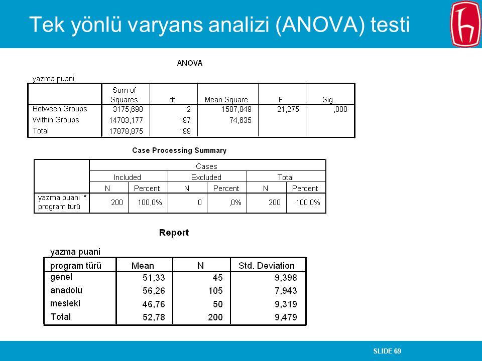 SLIDE 69 Tek yönlü varyans analizi (ANOVA) testi